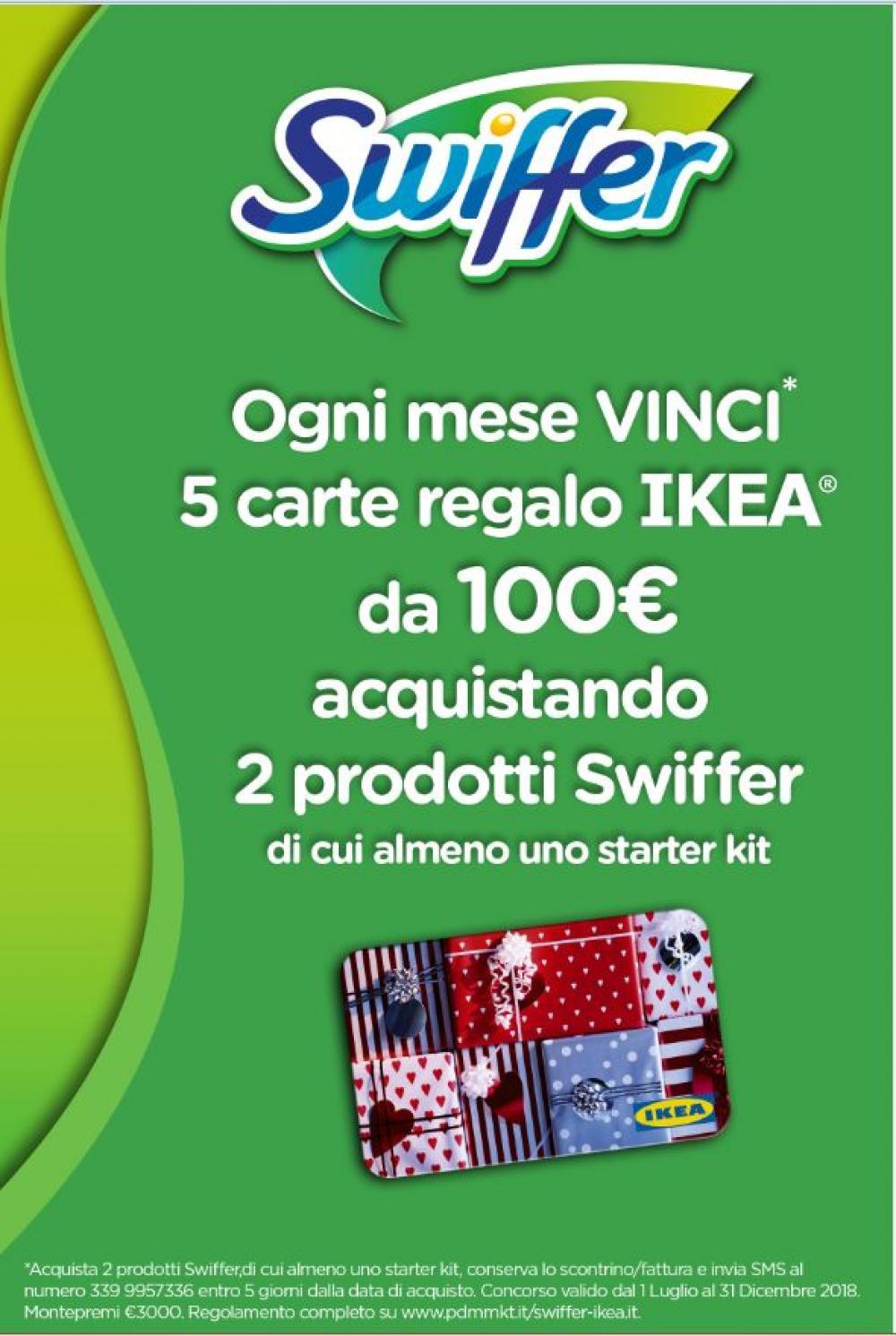 Con Swiffer vinci ogni mese 5 carte regalo IKEA